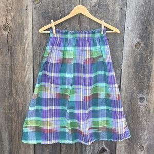 Vintage High Waisted Plaid Midi A-Line Skirt